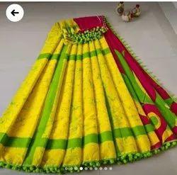 Ladies Handloom Cotton Saree, Machine wash, 6.3 m(with blouse piece)