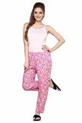 Pink Casual Wear Prettify Women's Rayon Printed Pyjamas