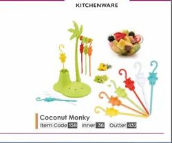 Coconut Monky Plastic Fruit Fork, For Party Supplies, Size: 6