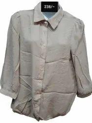 Casual Wear Cotton Plain Ladies Shirt, Size: 38