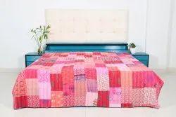 Authentic Patchwork Cotton Kantha Bedspread Decorative Patchwork Kantha Quilt For Bedding