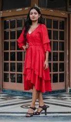 Plain Red One Piece Dress For Party, Size: S-xxl