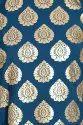 Women Gold Foil Printed A-Line Kurta (Teal)