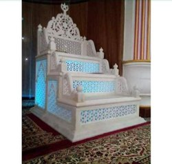 Indoor White Makrana Marble Masjid Mimber