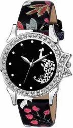 Empero Round Fancy Party Wear Leather Strap Watch