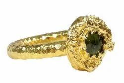 Gemvanity Golden Sterling Silver 925 Gold Plated Hammer Textured Ring Band, Weight: 6-7gms