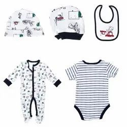 Blue And White Kids Baba Suit Combo Set