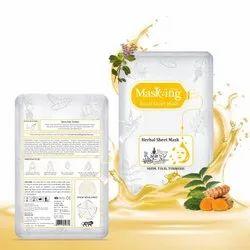 Masking - Herbal Facial Sheet Mask - Neem,tulsi & Turmeric - Oil Control