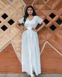 Casual White Women Long Maxi Dress