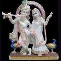 Lords Stylish Radha Krishna Yugal Jodi Gold Touch White Marble Statue
