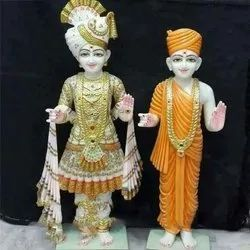 Lord Swami Narayan Dev ji Gold Touch Marble Paint Statue