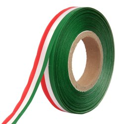Double Satin Medallion - Red, White, Green Ribbons 25mm/1Inch 20mtr Length