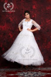 Net Ball White Wedding Gown