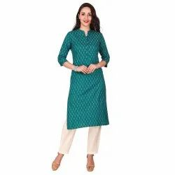 Green Color Cotton Straight Kurta For Women & Girls