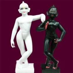 White and Black Lord Krishna Baldev Iskon Marble Statue