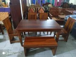 Own Natural Teak Wood Dining Table With Chairs Cum Bench, For Home, Size: 5 x 3 Ft