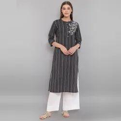Janasya Women's Black Weaved Cotton Kurta with Pocket(J0150)