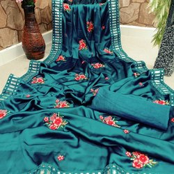 Party Wear Blue Embroidery Saree, With Blouse Piece, 5.5 m (separate blouse piece)