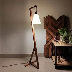 Zed Wooden Floor Lamp With Brown Base And Fabric Lampshade