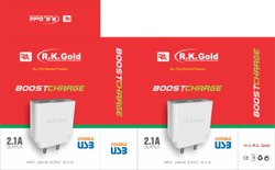 White RK Gold 2.1A Boost Charge Mobile Charger