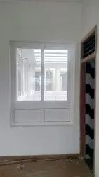 White UPVC Fixed With Sliding Window, Glass Thickness: 5mm