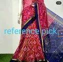Printed 6 M (with Blouse Piece) Handloom Silk Cotton Ikkat Saree