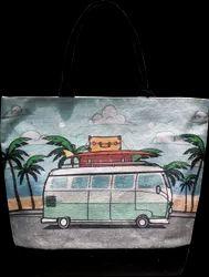 Female Printed Digital Beach Jute Bag