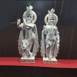 White Marble Fancy Radha Krishna Statue