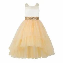 Women Plain Toy Balloon Kids Girls Golden High Low Party Wear Dress, Size: 2-12 Years