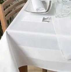 Stripe 100% Mercerised Cotton Satin Band White Tablecloth