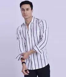 Collar Neck Mens Full Sleeve Lining Cotton Shirts, Size: M-XXL