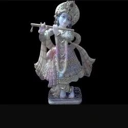 Lord Krishna Modular Paint and Gold Touch Marble Statue