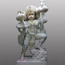 White Marble Lord Hanuman Gold Touch Statue