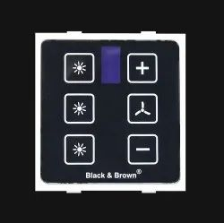 Wireless Remote Control Touch Switch Black & Brown TM1R