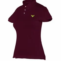 Women Burgundy Tailor Made Polo T Shirt