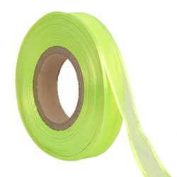 Organza Satin - Neon Green Ribbons 25mm/1Inch 20mtr Length