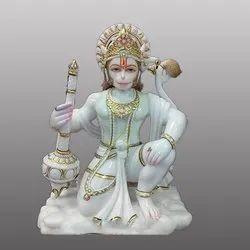 White Marbale Gold Touch Hanuman ji Statue