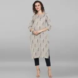 Janasya Women's Grey Cotton Flex Kurta (JNE3526)
