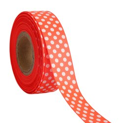Polka Dots Orange Ribbons 25mm/1''inch Gross Grain Ribbon 20mtr Length