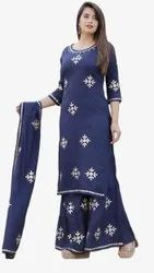 Rayon Indian Ethnic Designer Blue Sharara Set, Size: M To Xxl