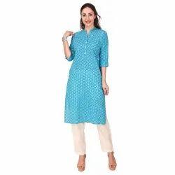 Women Embellished Cotton Blend Straight Kurta