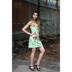 Embroidered Green Ladies Net One Piece Dress