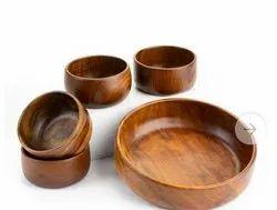 Round Fruit Bowl Wooden Salad Bowls
