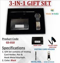 3 In 1 Black Pen Keychain Card Holder Gift Set