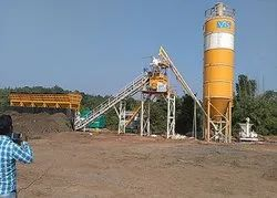 Electric MS Ready Mix Concrete Batching Plant With Twin Shaft Mixer