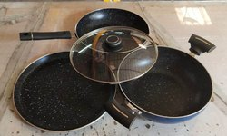 Aluminium Polished 4 pc cookware set, For Kitchen