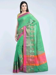 Formal Wear Green, Pink Printed Indian Saree, 6 m (with blouse piece)