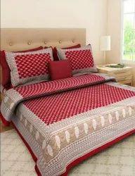栗色和白色设计师印花床单,1张床单,2个枕头