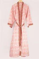 Pink Floral Print Designer Printed Kimono Dress, Free Size
