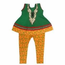Green And Yellow Girl Kids Anarkali Suit